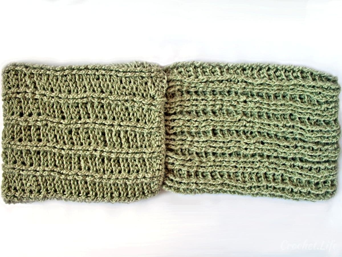 Crochet green cowl before tying together