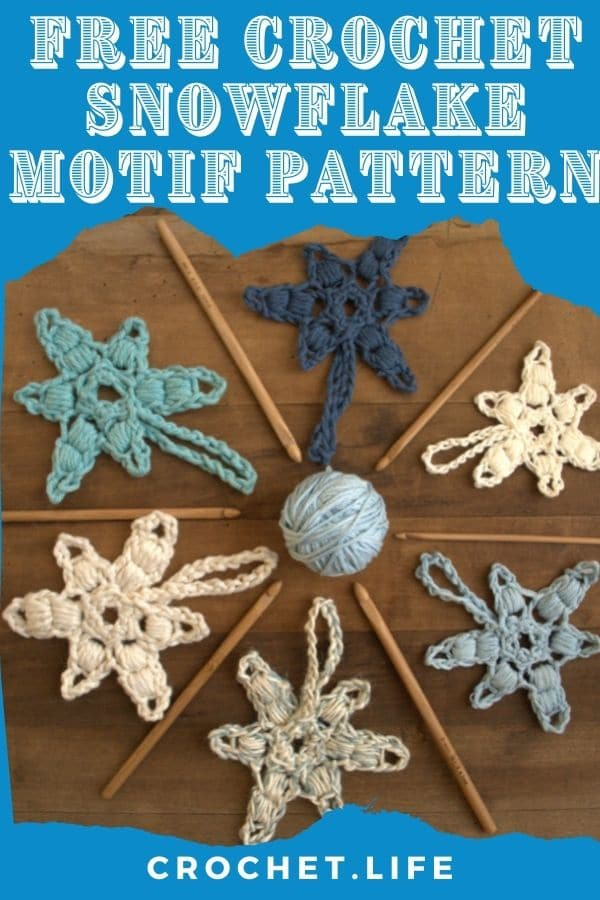 Pinterest image with bright blue overlay over picture of crochet snowflakes