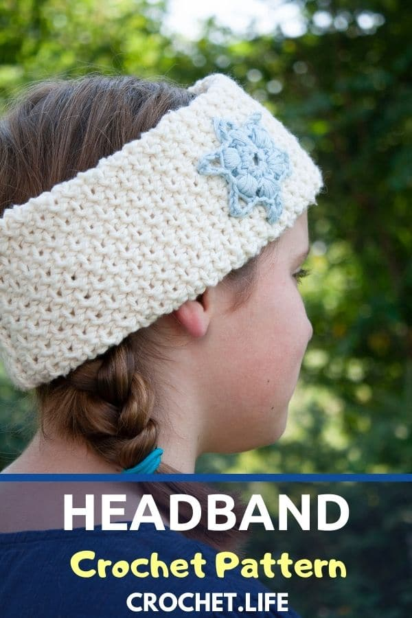 Girl with white headband over braids with blue overlay saying headband crochet pattern on bottom of picture
