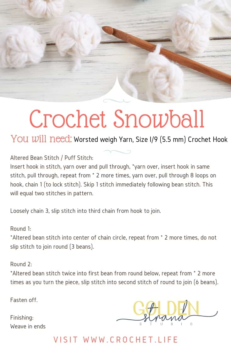 Crochet Snowball Easy Free Pattern