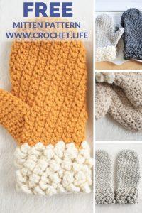 Free Mitten Crochet Pattern Adult Size Winter Spun