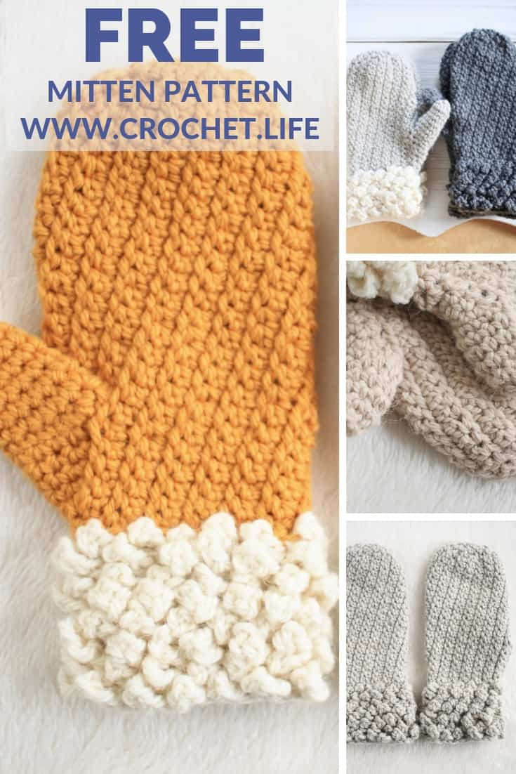 Free Mitten Crochet Pattern Adult Size Winter Spun