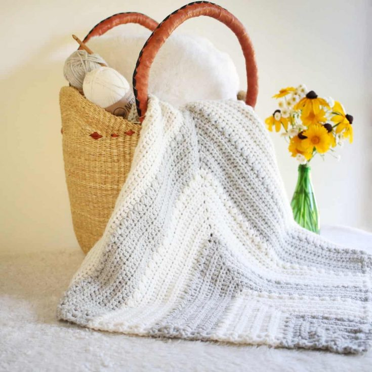 Free Baby Blanket Crochet Pattern with Mitered Crochet and Bean Stitches