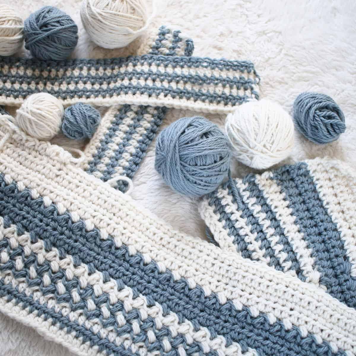Multi-Striped Baby Blanket Crochet WIP