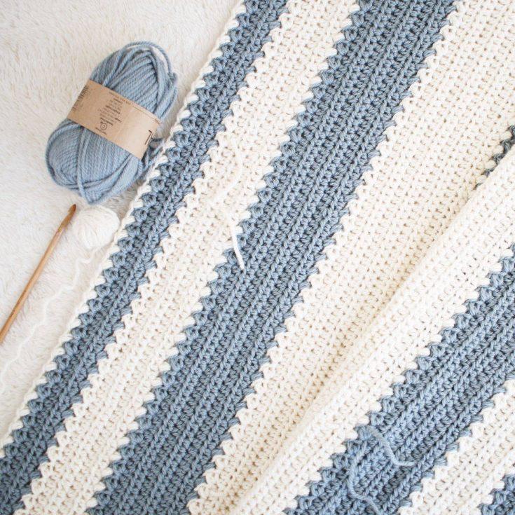 Easy Striped Baby Blanket Crochet Pattern