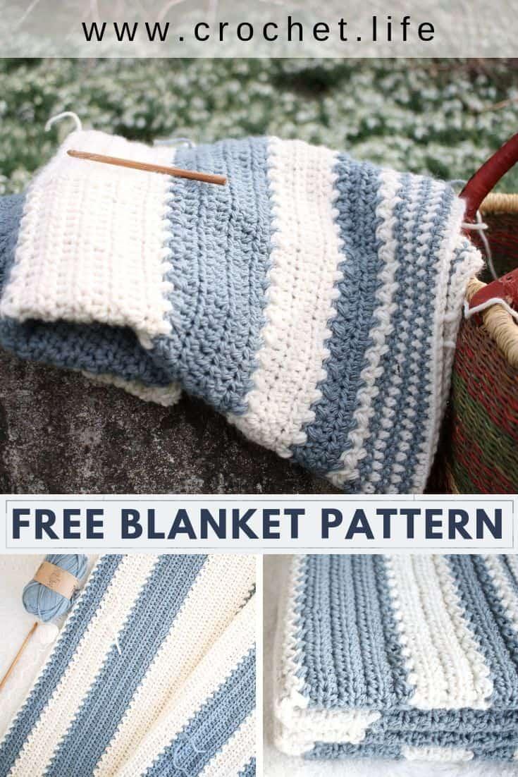 Free crochet striped blanket project