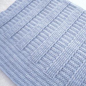 Crochet Ribbed Baby Blanket Pattern.