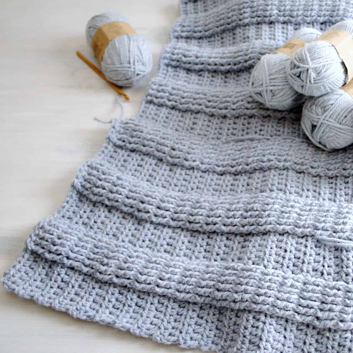 Berry Hedge Ribbed Crochet Blanket Work in Progress.
