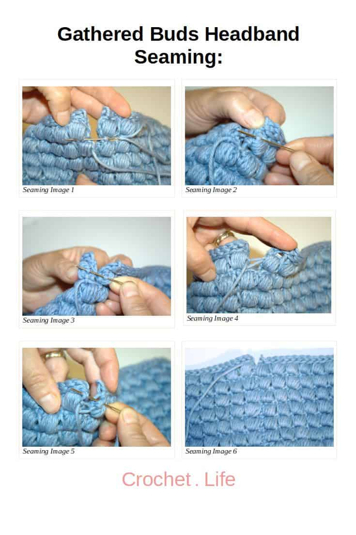 Easy seaming photos for the Gathered Buds Crochet Headband Pattern.
