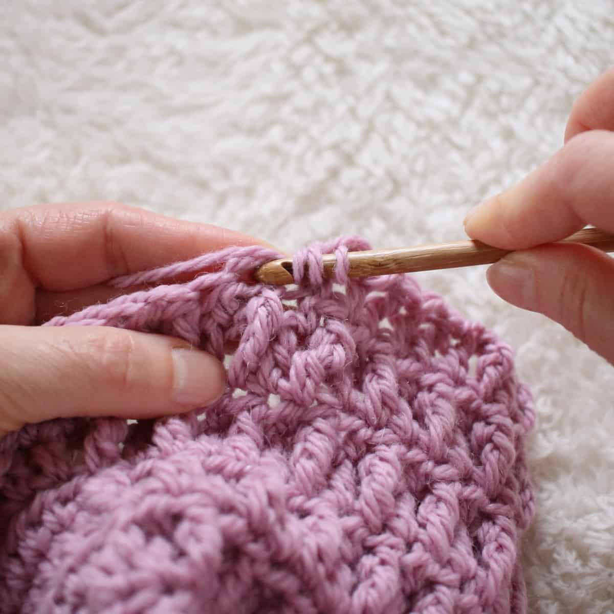 Treble Crochet Stitch Placement with the Free Nestlen Blanket Pattern.
