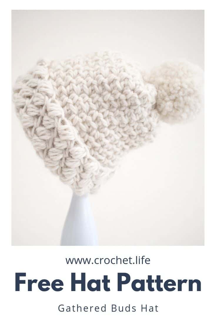 Free adorable hat pattern designed with warm, bulky yarn.