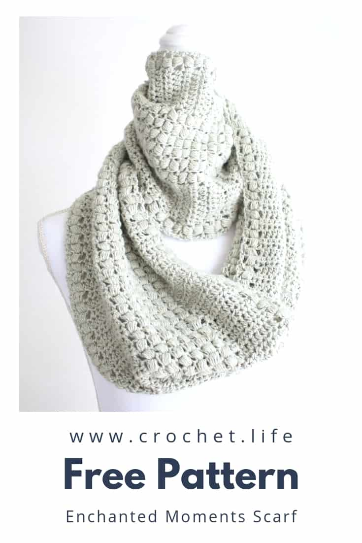 Snuggle up with the Enchanted Moments Scarf. The crochet pattern is free.