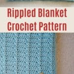 Blue rippled afghan collage