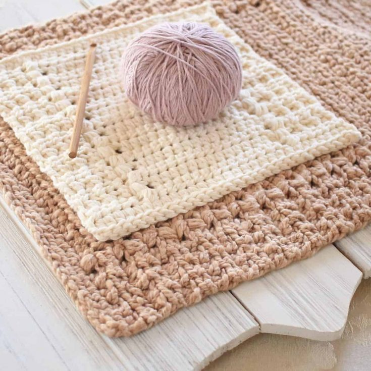Easy Free Crochet Dishcloth Pattern with Matching Hand Towel