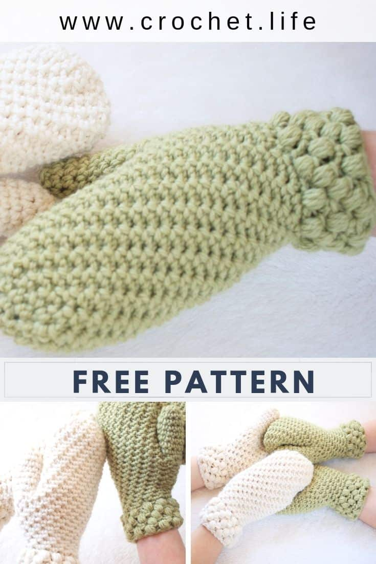Fun Crochet Mittens for the Whole Family. Free Gathered Buds Pattern.