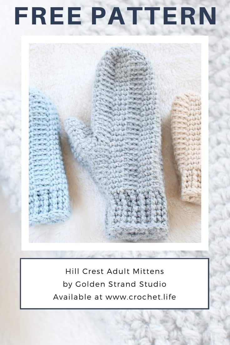 Crochet Mitten Pattern in Men's Size