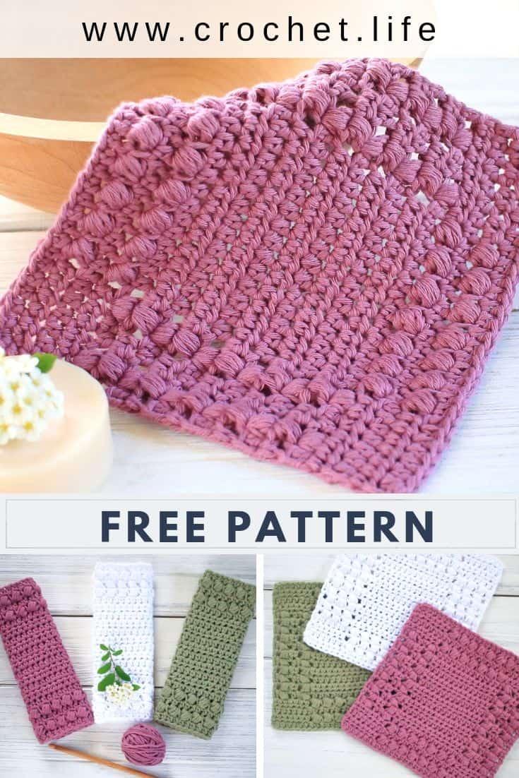 Easy Crochet Puff Stitch Dishcloths Free Pattern