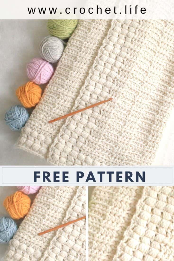 Easy Textured Crochet Blanket Free Pattern