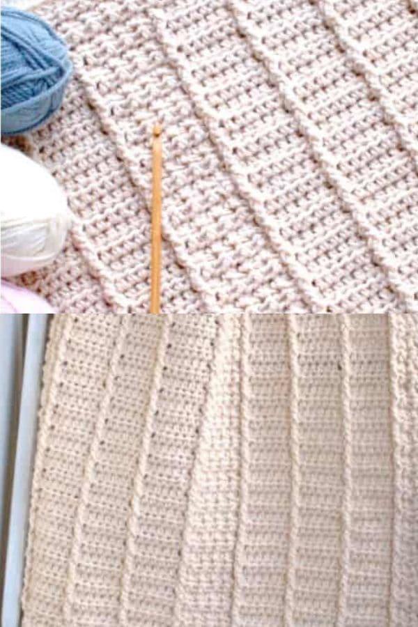 Pink ribbed crochet baby blanket