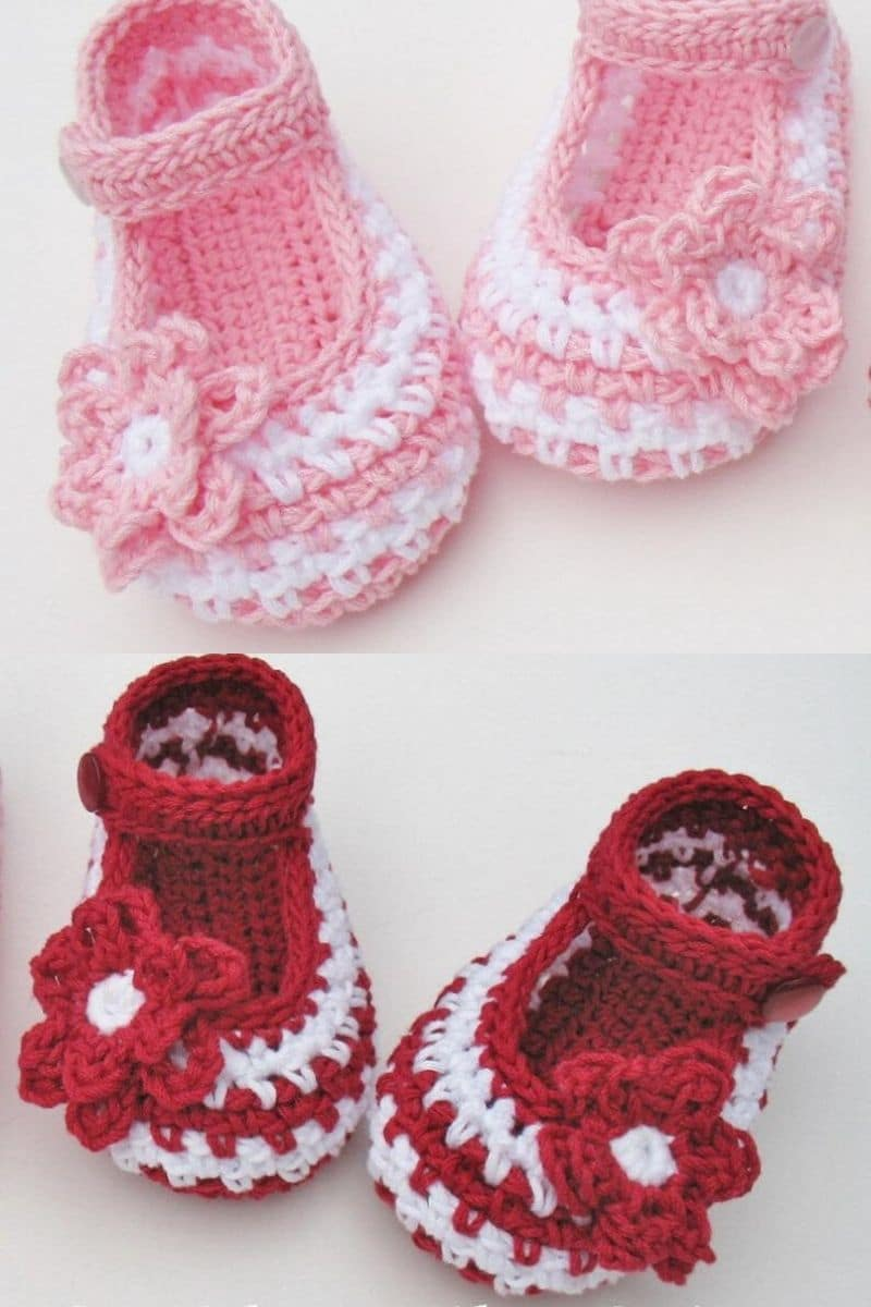 Lace style pink and red baby booties mary janes