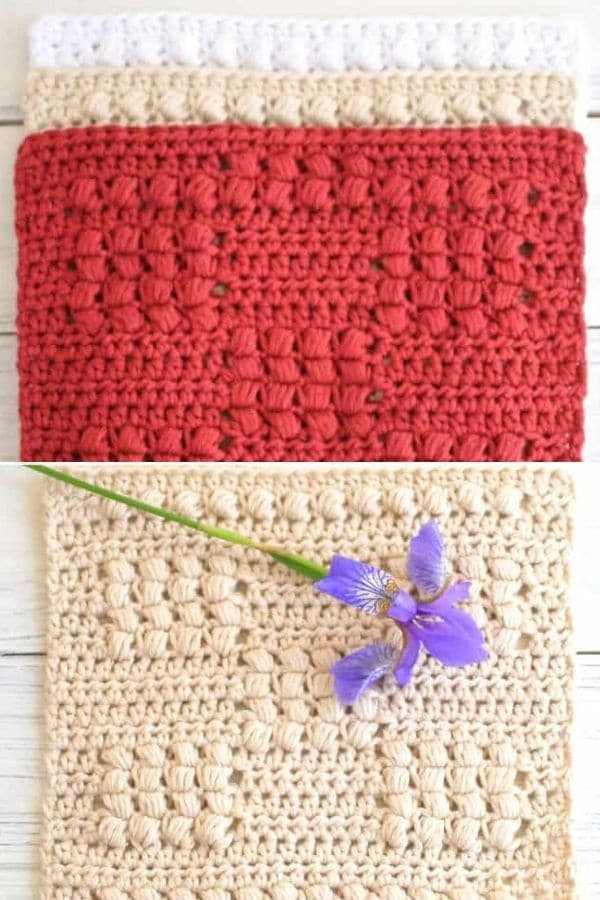 Red and ivory simple crochet pattern
