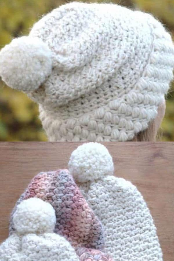 White hat with white pom pom top