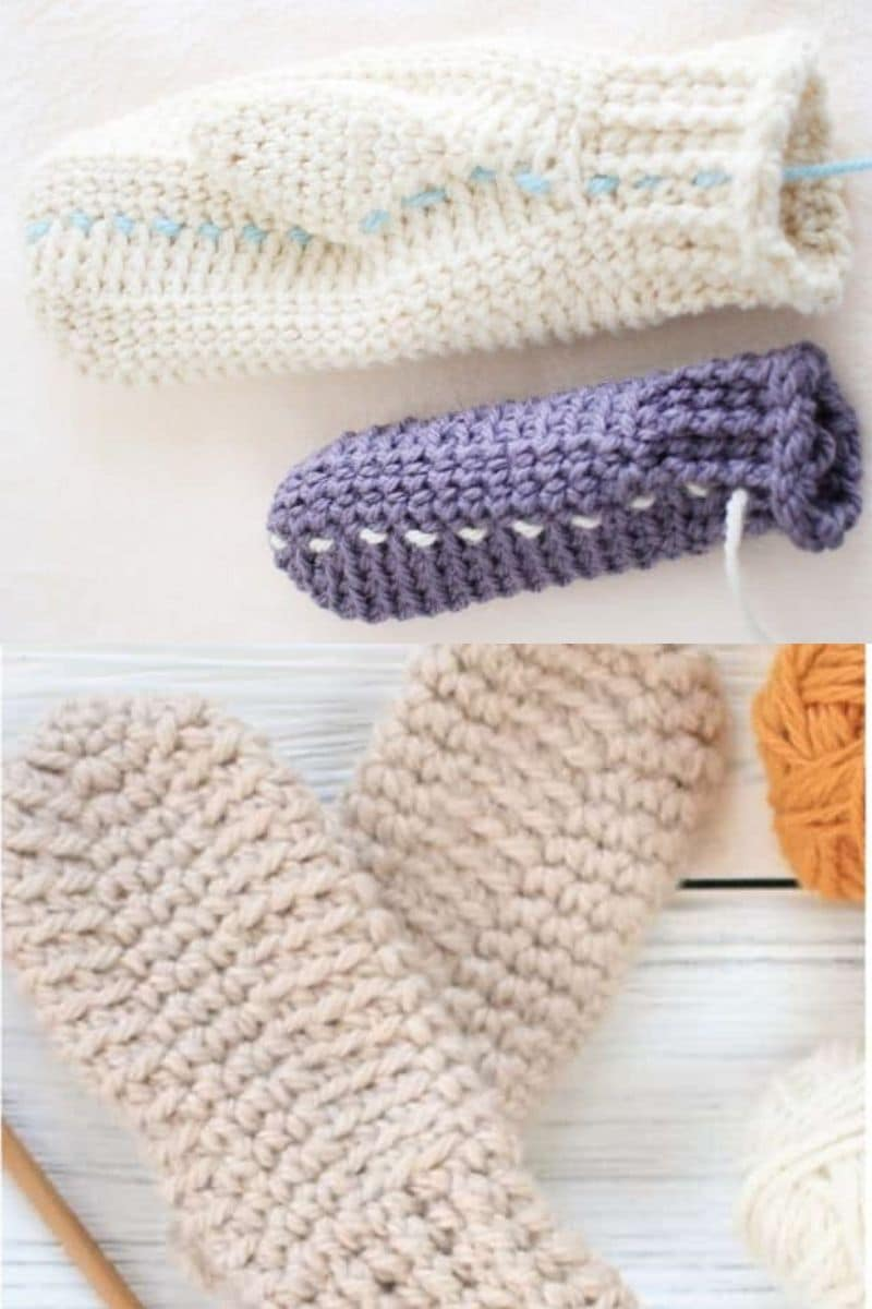 Simple blue and ivory mittines