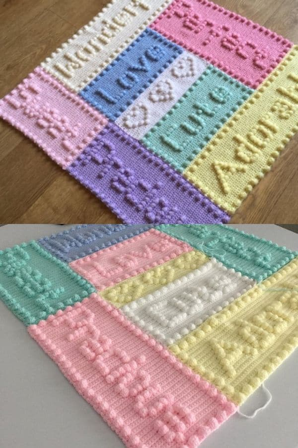 Pastel colored word crochet blanket