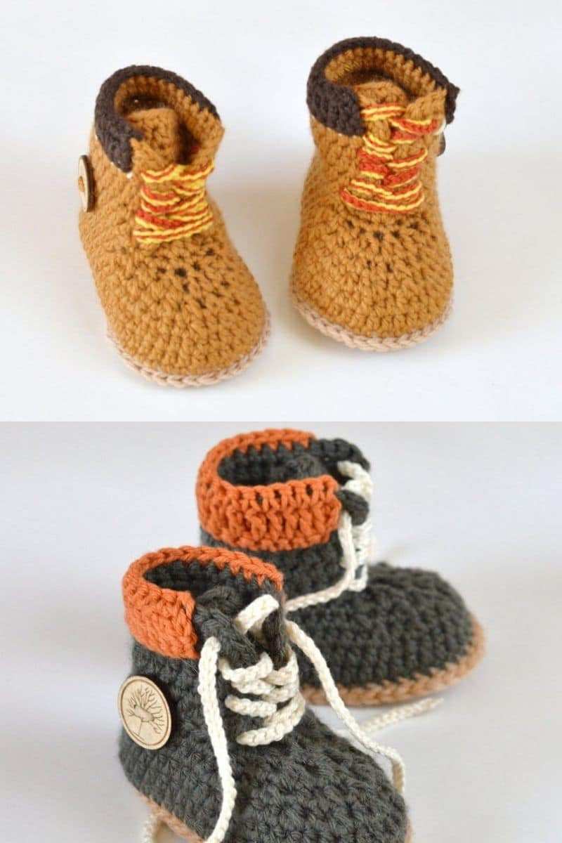 Brown timerland style crochet boots