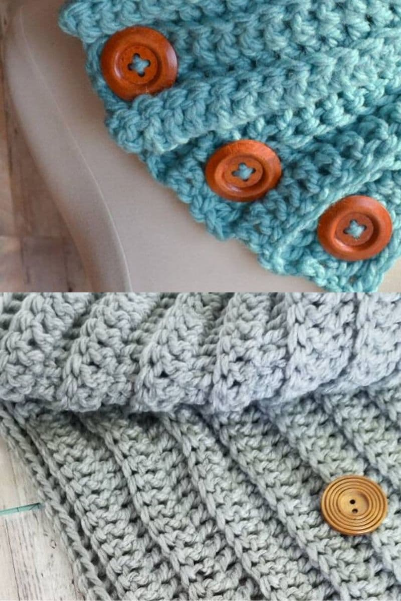 3 button ribbed scarf in blue and grey