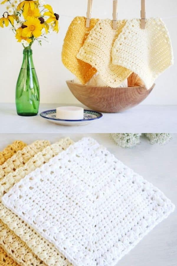 Striped angle white and yellow dishcloths