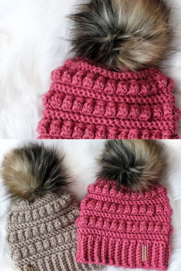 Thick ribbed beanie hat with fake fur pom pom top