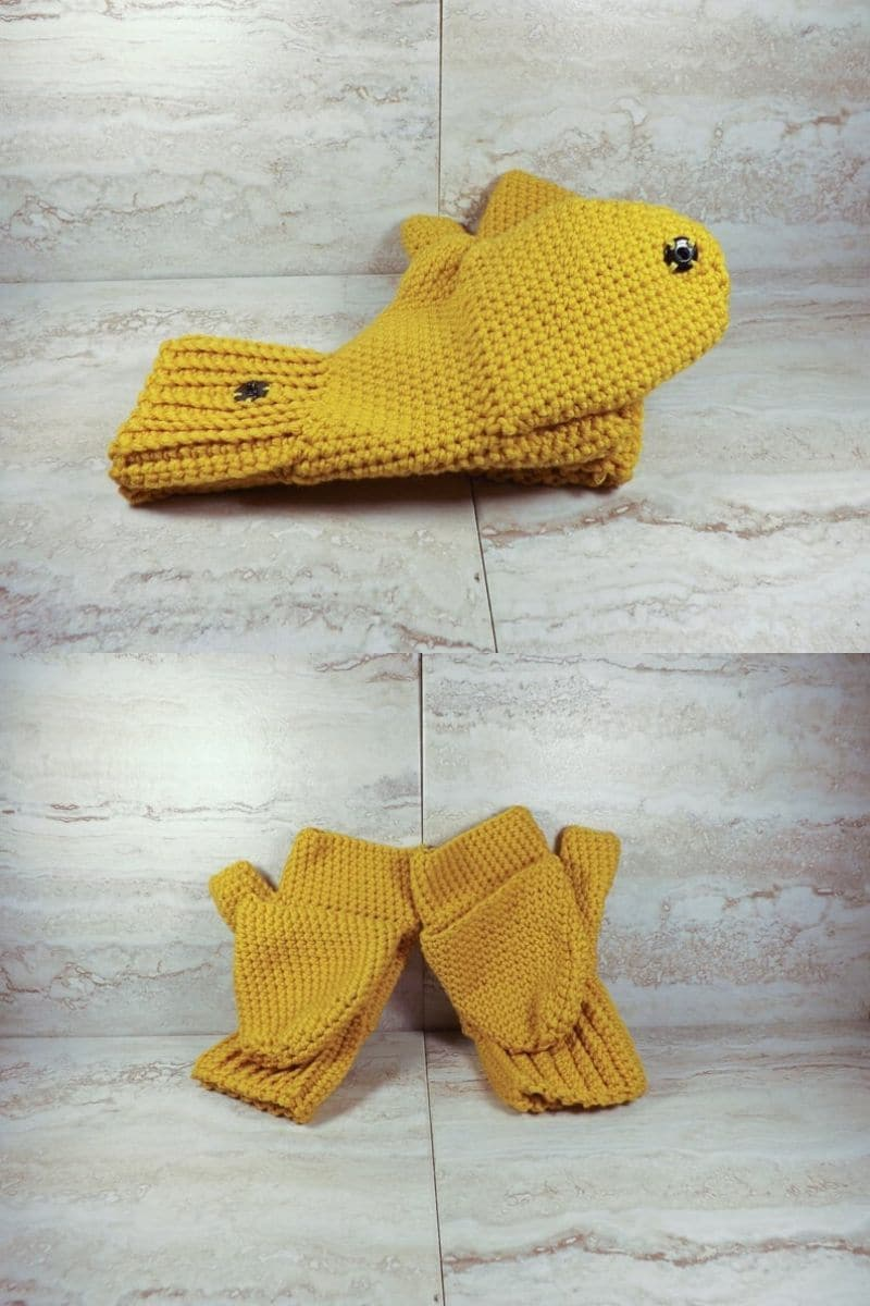 Yellow flip top fingerless mittens
