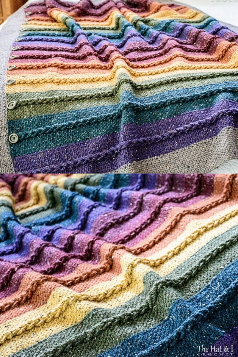Rainbow colored buttons and stripes afghan