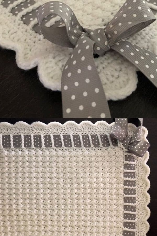White and grey polka dot ribbon edge crochet blanket