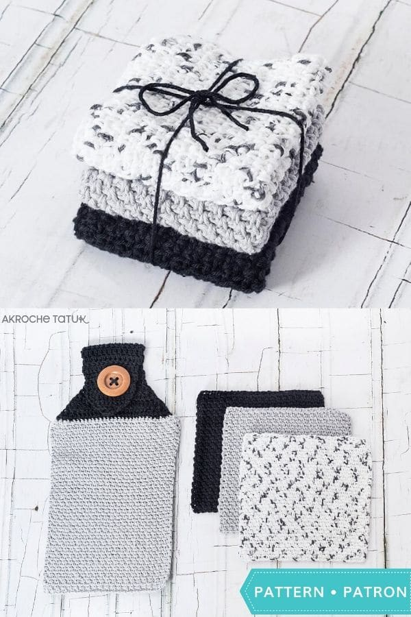 Basic grey and black matching dishcloth and hand towel