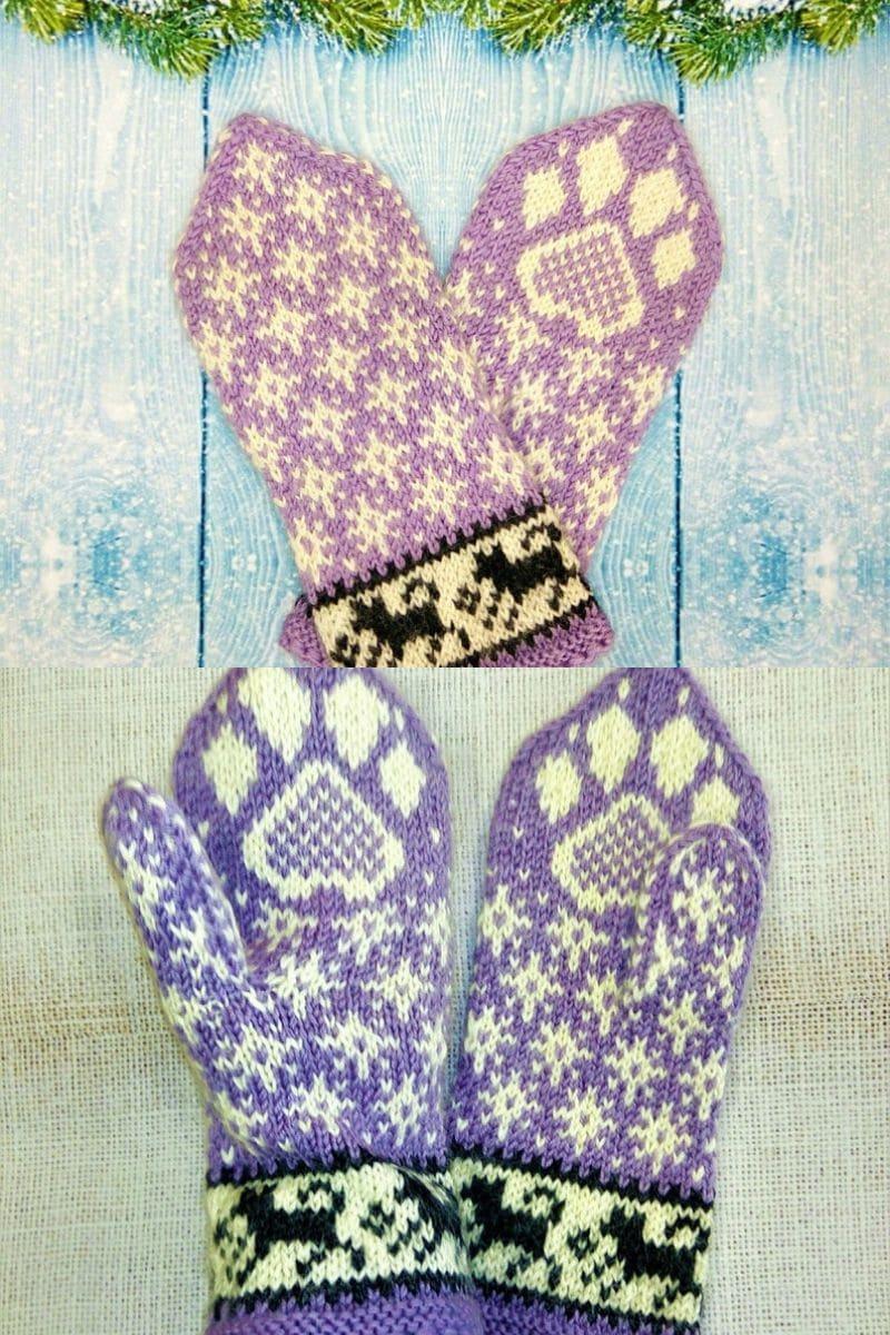 Husky dog print crochet mittens pattern