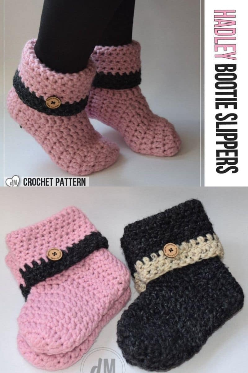 Pink and black crochet ankle boots