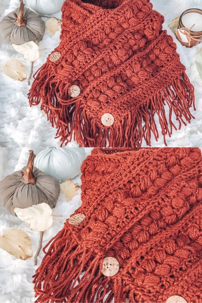 Fringed burnt orange cowl