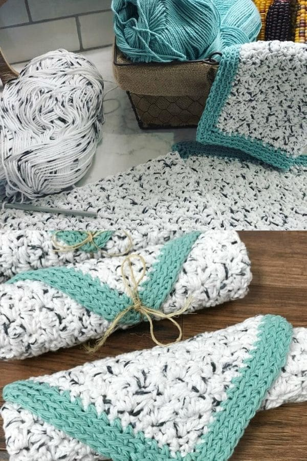Teal and white dishcloth with rustic pattern