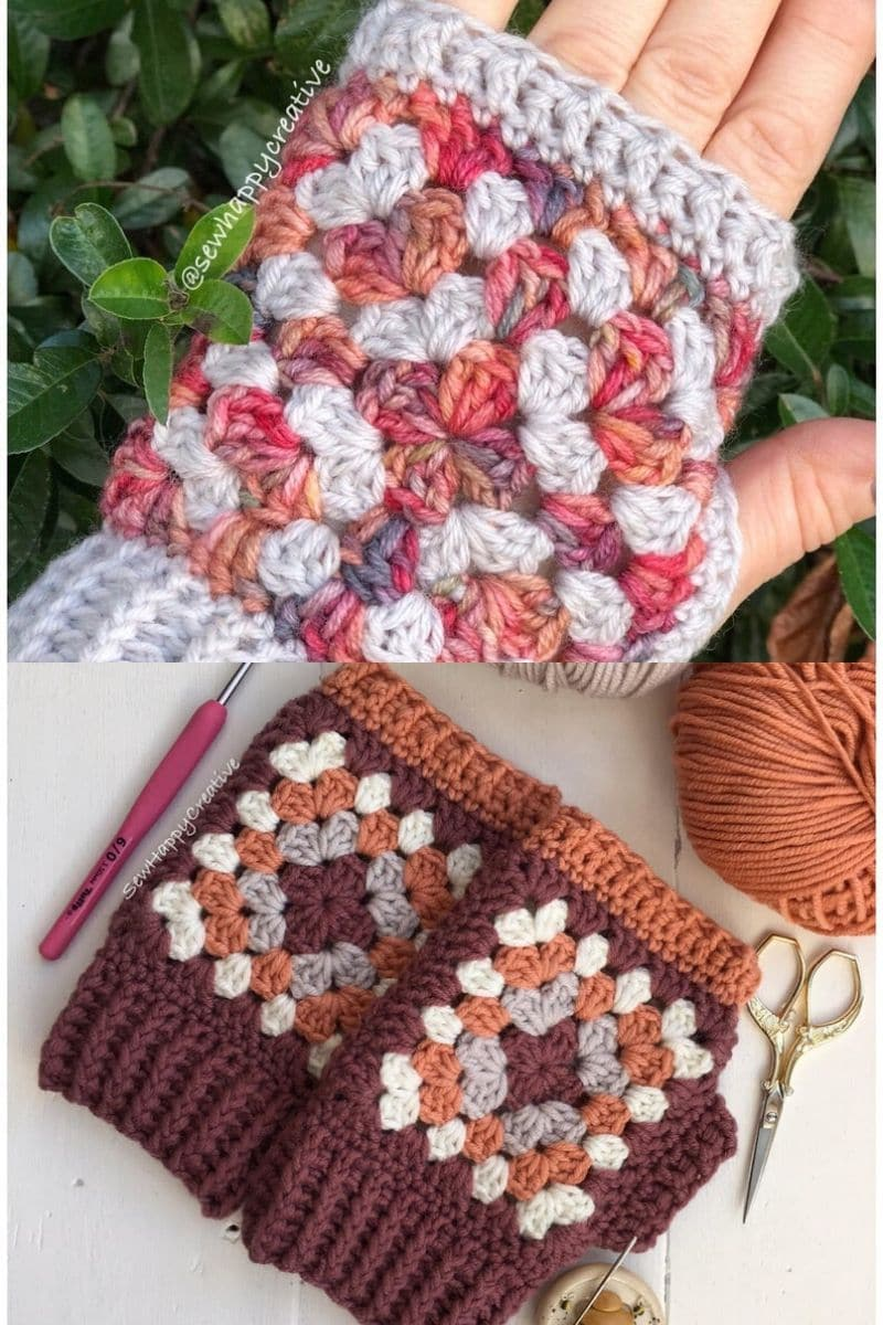 Maroon and pink granny square fingerless gloves