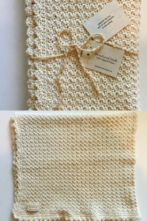 Simple ivory crochet blanket