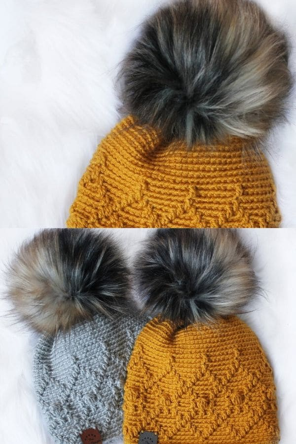 Amber patterned beanie with fake fur top