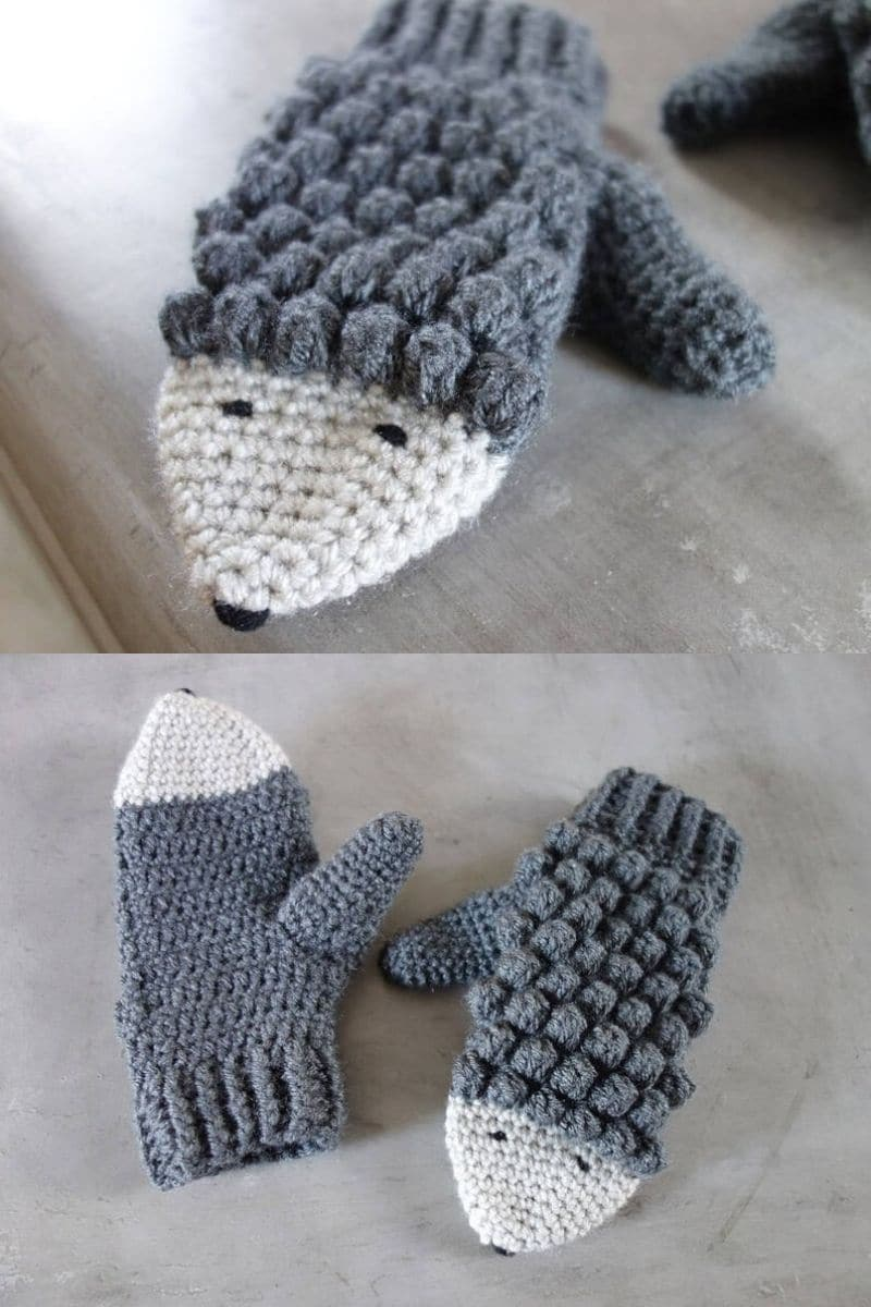 Grey and white hedgehog crochet mittens patterns