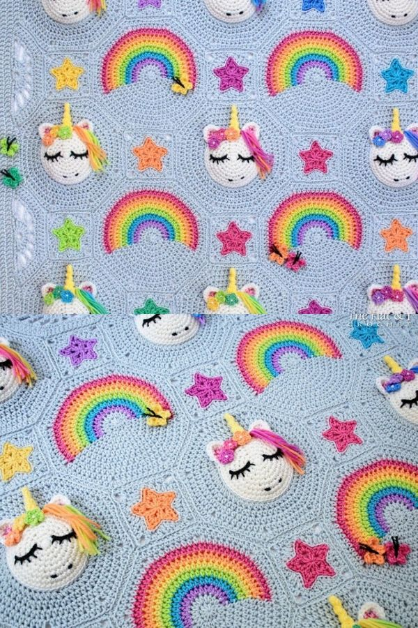 Colorful unicorn crochet blanket