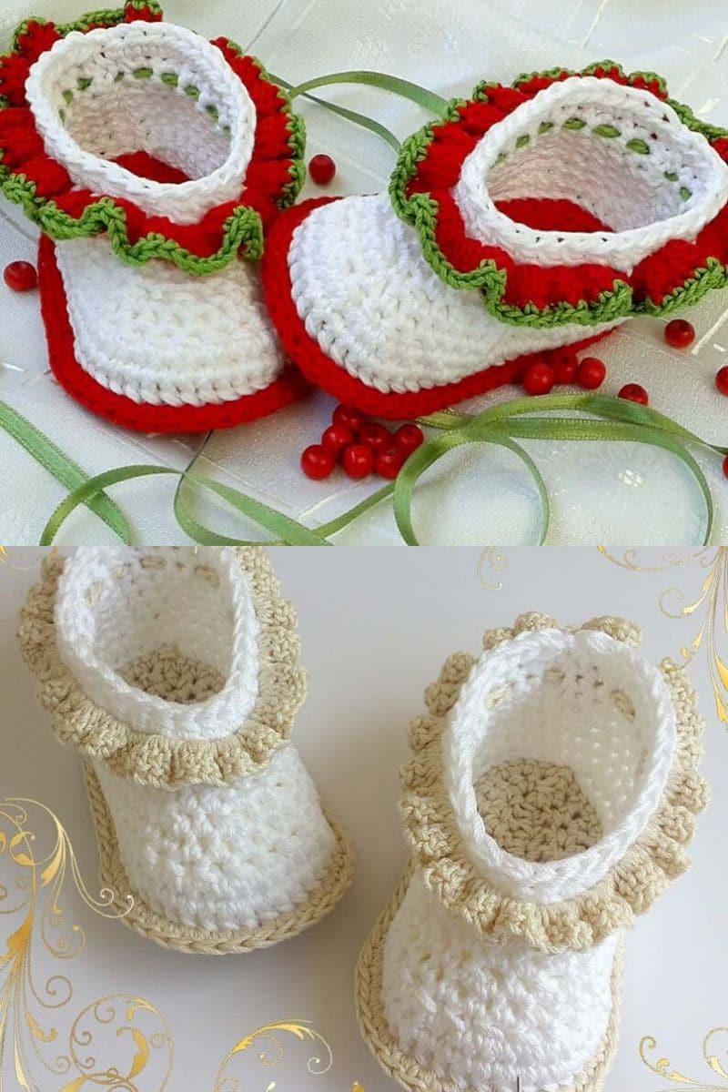 White and ivory ruffle cuff baby booties