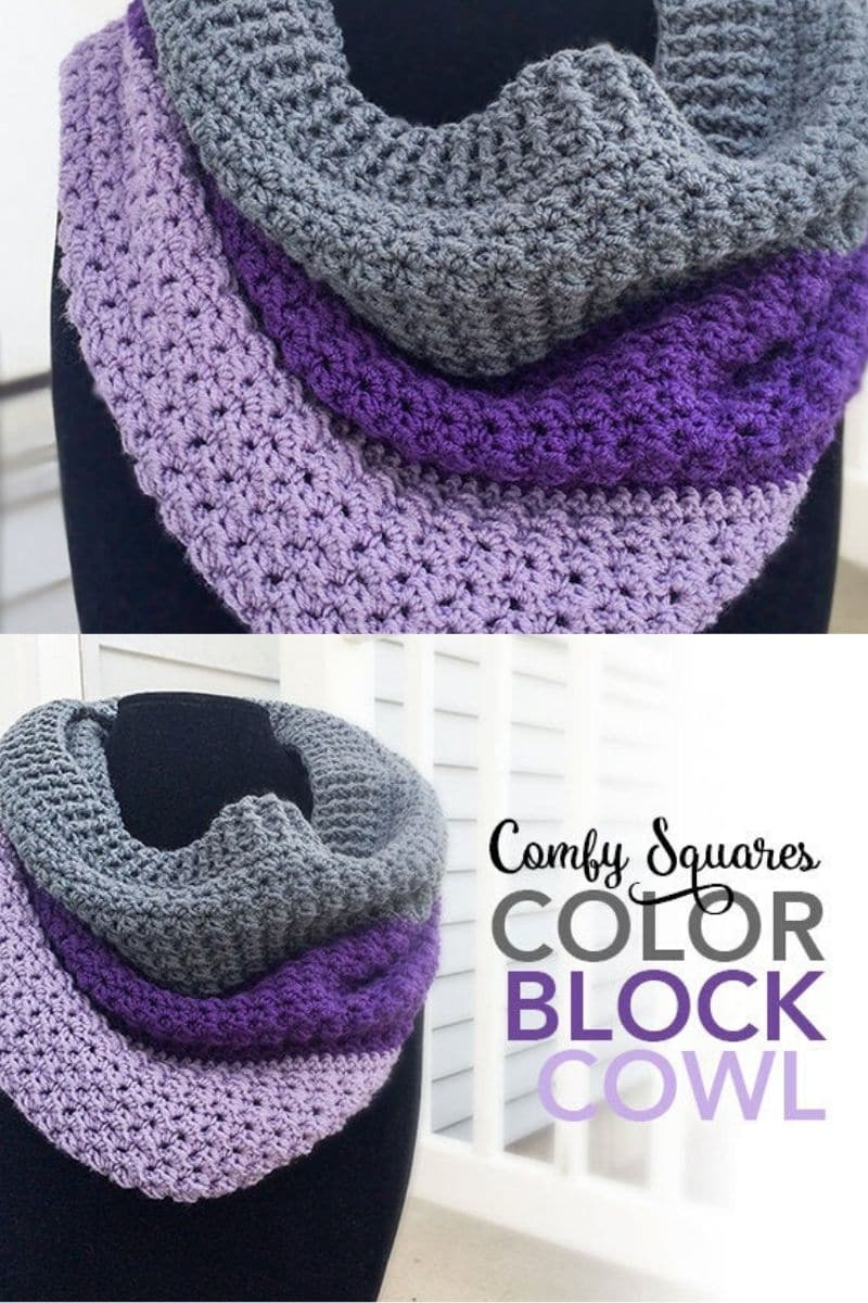 Purple and grey color block cowl