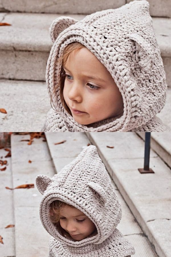 Crochet bear cowl hat in ivory