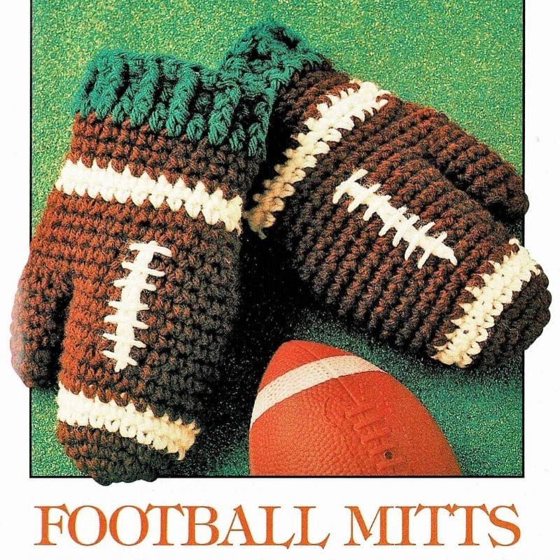 Vintage football themed mittens
