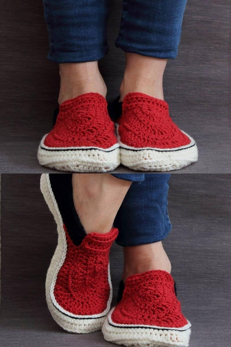Black and red sneaker style crochet booties